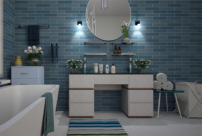 blue theme bathroom design