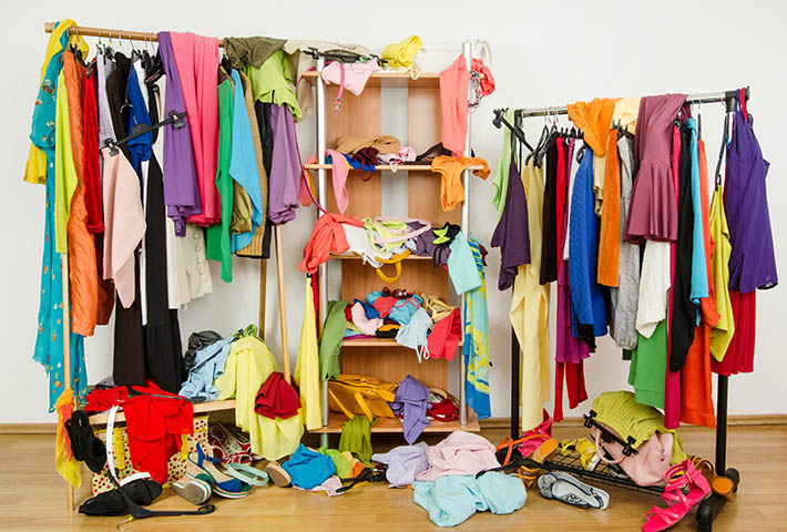 cluttered woman wardrobe