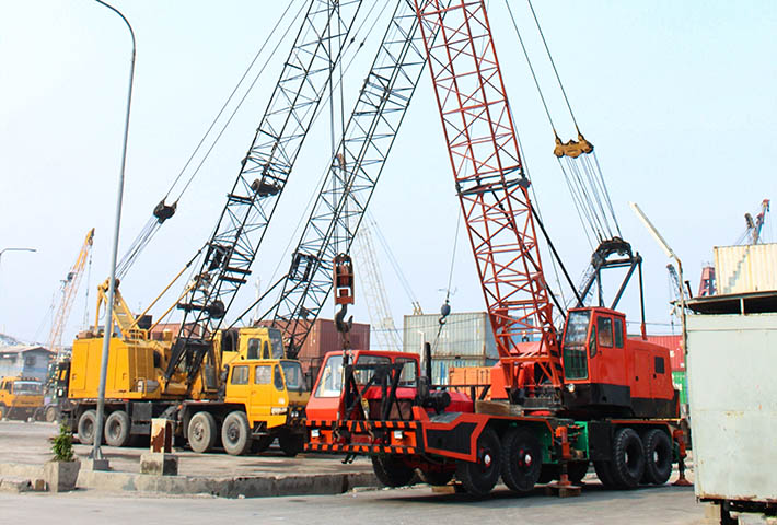 cranes parked near construction site
