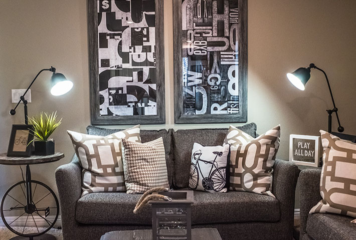 diverse throw pillows in living room