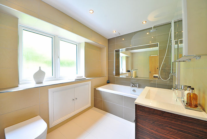 large clean bathroom