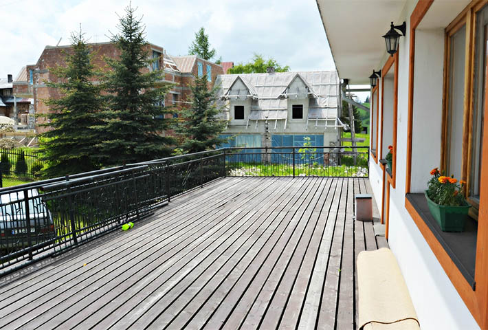 large grey wooden deck