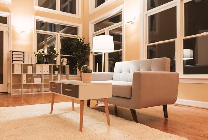 large living room nighttime
