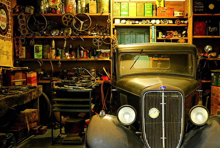 old car in old garage