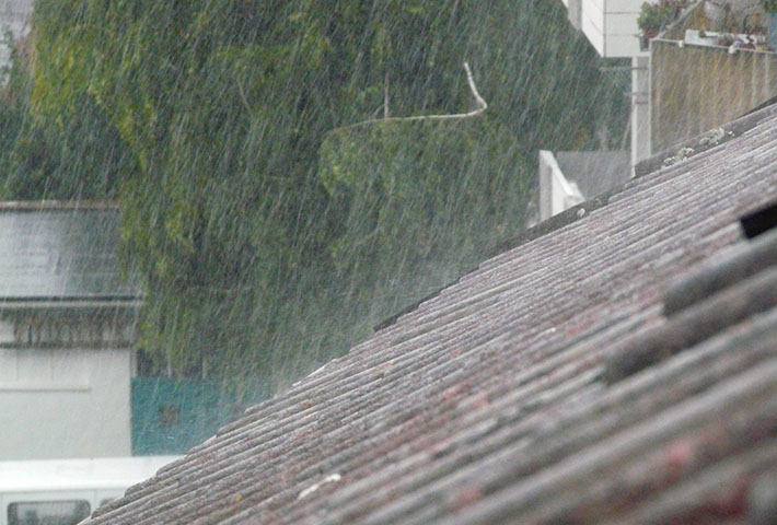 rain pouring on the roof