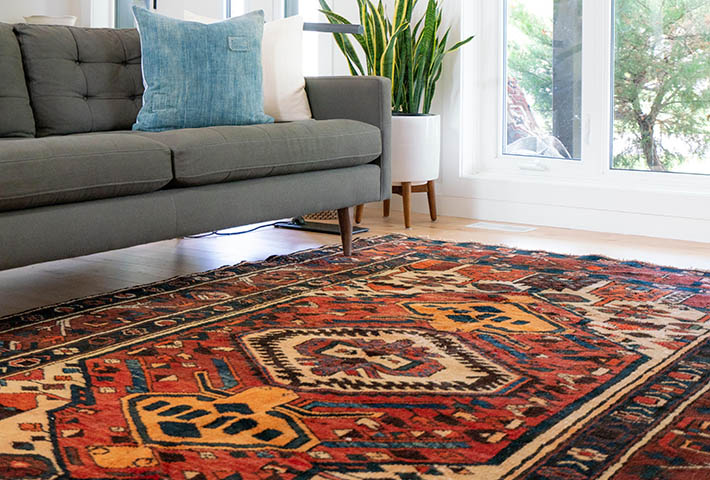 red traditional model rug