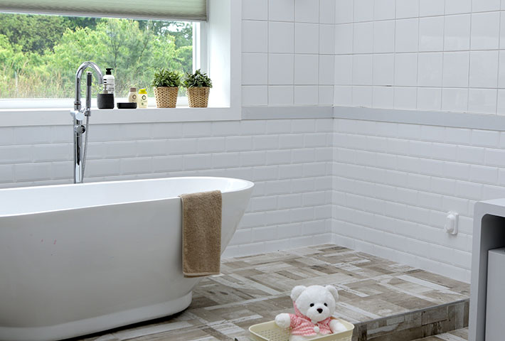small square tiles in bathroom