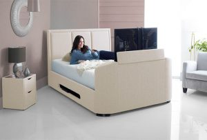 Upgrade your bedroom with a generous bed and TV all-in-one